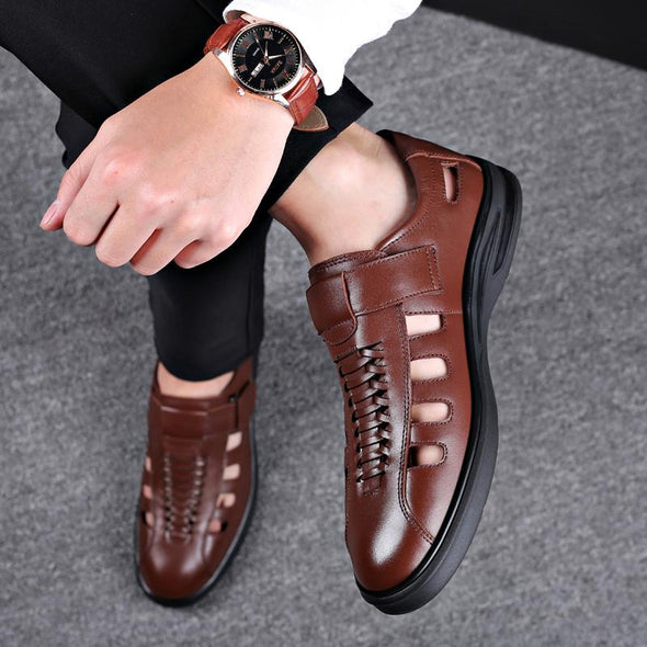 High Quality Genuine Leather  Men Outdoor Casual  Breathable Fisherman Shoes