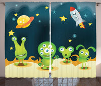 Outer Space Window Curtains Aliens on Mars Surface Galaxy Solar System Objects Orbit Rockets Humor Design Living Room Decor