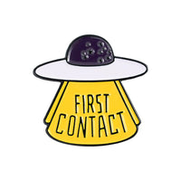KNOW THE SPACE FIRST CONTACT SET Creative cartoon brooch pin badge pin Fun Spaceship UFO Astronaut Series hat jewelry gift