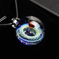 Vintage Solar System Planet Universe Starry Sky Galaxy Pendant Necklace Nebula Space Art Glass Ball Gem Jewelry