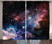 Space Decorations Collection Stars Nebula Colorful Space Galaxy Astronomic Picture Print Living Room Bedroom Curtain 2 Panels
