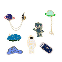 Universe Space Planet Astronaut Robot Collection Brooch Star Bottle Lapel Pin Custom Badge Cartoon Enamel Pin Jewelry Gift