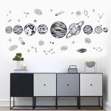New Europe Style Cartoon Cosmic Planet Galaxy Wall Sticker for Kids Room Learning Outer Space for Living Room Art Decals PVC