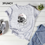 JFUNCY Short Sleeve Casual T-Shirt Summer Women Tops Laika CCCP Space Dog Print Cotton Tees Plus Size Woman Shirts Female Tshirt