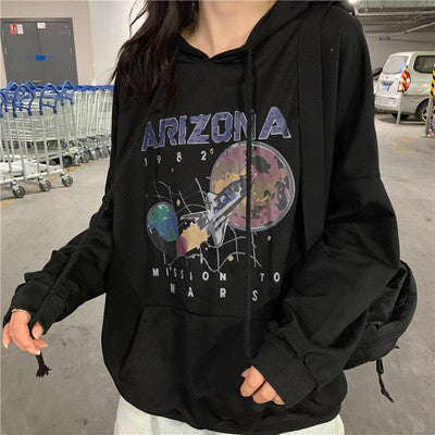 Autumn and Winter Cotton Nostalgia Old Planet Printed Harajuku Spaceship Arizona Space Print Black Hooded Sweatshirt Hoodie
