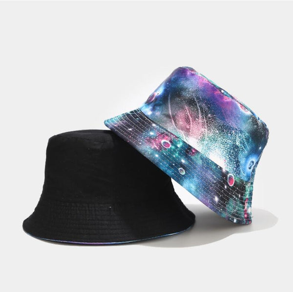 2020 Two Side Reversible Out space Planet Bucket Hats The Milky Way Caps Women Men bob hat hip hop Spring outdoor sun hat