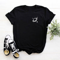 Space pocket shirt tumblr t shirt women graphic tee gift teen clothes printed womens cotton t-shirts summer tops