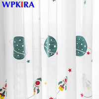Cartoon Outer Space Rocket Embroidered Voile Curtain For Kids Bedroom Living Room Sheer Window Drapes Luxury Children Tulle 20D3