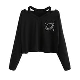 JAYCOSIN Fashion Women Solid Planet Printed Long Sleeve Sweatshirt Elegant Chic Strapless shoulder Casual Loose Sweatshirt