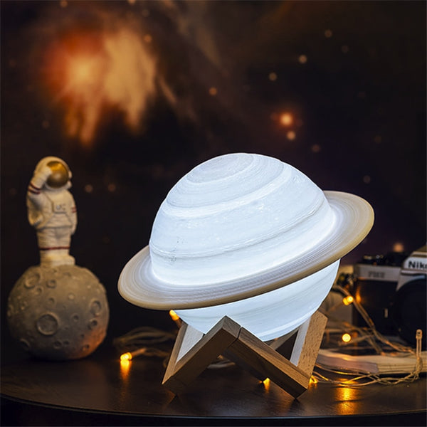 3D Print Saturn Lamp USB Rechargeable Space Moon Lamp Night Light 16 Colors Remote Children Gift Night Lamp Desk Home Decoration