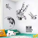 Astronaut space roaming Wall Sticker for kids rooms Living room bedroom decorations wallpaper Mural Childhood dream stickers