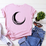 JCGO Summer T Shirt Women 100% Cotton Moon Planet Space Print Plus Size S-5XL O-Neck Short Sleeve Fashion Casual Tee Tops