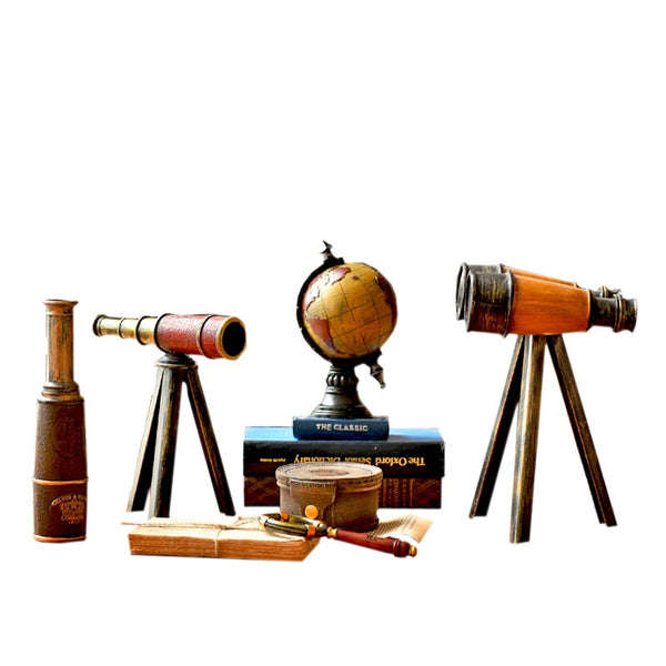 Vintage Nostalgic Astronomical Telescope Model With Stand Miniature Model Home Decoration Figurines Desk Decor Metal Ornament