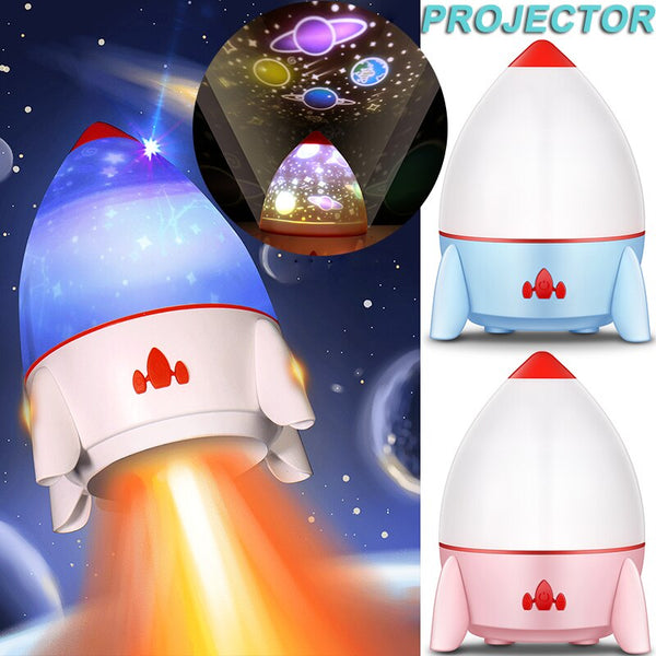 LED Rocket Rotating Projector Led Colorful Space Starry Sky Projector Led Projector Sleeping Light Table Lamp Nightlight D40