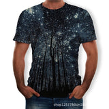2020 summer new men children's breathable t-shirt 3D beautiful starry tree print men tees short-sleeve o-neck loose men t shirts