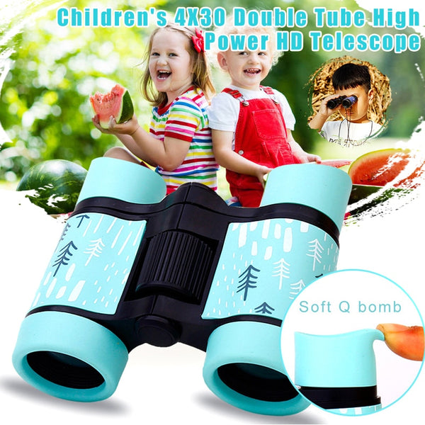 4x30 HD Binoculars Colorful Telescope Fixed Zoom Anti-skid Rubber Adjustable Children Toy Outdoor Fishing Hiking Telescope Gifts