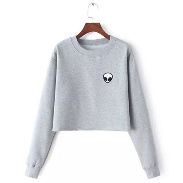 Autumn Long Sleeve Women Sweatshirts Casual O-Neck Cropped Pullovers Female Hoodies Coats Fashion Print Short Hoodies Grey S-2XL