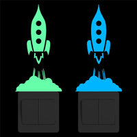 Glowing Rocket Space Light Switch Sticker Glow in the Dark Cartoon Rocket Vinyl Wall Stickers for Kids Rooms Bedroom Home Decor
