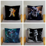 Super Soft Short Plush Cushion Cover Space Astronaut Print Pillow Covers 45*45 Square Throw Pillows Cases Home Decor Pillowcase