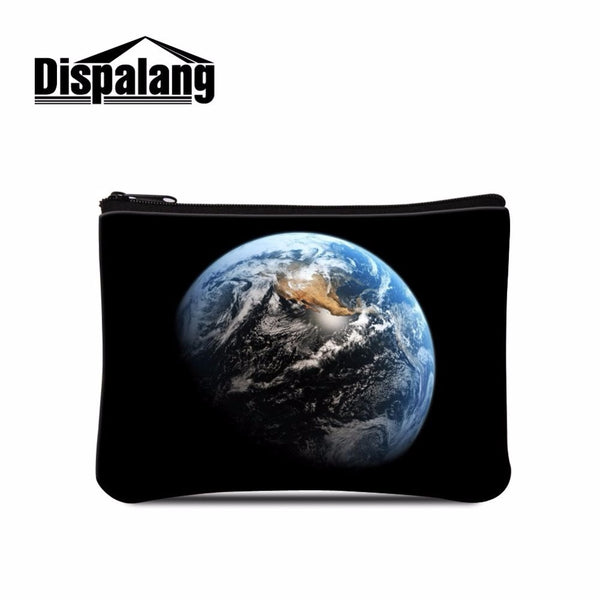 Dispalang novelty zipper coin purse wallet mini bag universe space galaxy star women cosmetic beautician bags storage makeup bag