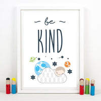 Space Themed Nursery Wall Art Prints Be Brave & Be Kind Quotes Canvas Posters Painting Baby Boy Gift Kids Room Wall Decoration