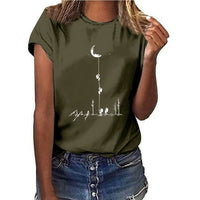 New Arrival Summer T shirts Women Fashion Short Sleeve Tee Tops Casual Streetwear Walking Moon Earth Space T-shirts WDC2934