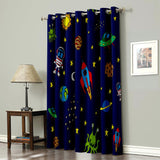 CoCoHouse Cartoon Space Astronaut Aircraft Rocket Moon Window Treatments Curtains Valance Room Curtains Large Window Living Room