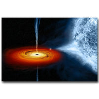 NICOLESHENTING BLACK HOLE Milky Way Galaxy Stars Nebula Art Silk Fabric Poster Huge Print Space Pictures for Home Wall Decor