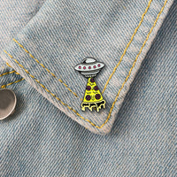 GDHY UFO Space Ship Yellow Pizza Brooch Enamel Pin Mysterious Space Universe Outer Spaceship Lapel Pins Astronomy Lover Gift