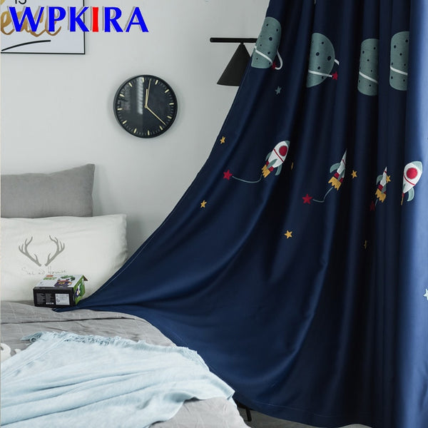 Cartoon Outer Space Pattern Blackout Curtain For Boys Children Bedroom Embroidered Luxury Fabric Tulle For Living Room WP020D3