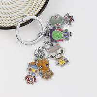 Cool Fashion Guardians of the Galaxy Character Keychain Rocket Bear Figure Model Key Chain Tree Man Movie Jewelry Accessories