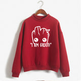 Kawaii Harajuku FunnyGROOT MARVEL Oversized Hoodies Sweatshirt Autumn Winter Women Kawaii Loose Long Sleeves Tops Plus Size