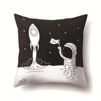 Cartoon Astronaut Series Cushion Cover Polyester Black Pillow Covers Outer Space Decorative for Sofa Bedroom Living Room Decor