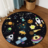Cartoon Space Planet Spacecraft kids round rug for children home Living Room Bedroom Chair Non-slip Round Land Pad Carpet
