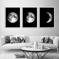Moon Phase Galaxy Space Art Poster Black White Nordic Canvas Wall Print Minimalist Painting Modern Home Room Decoration Picture