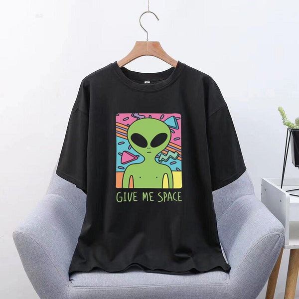 Give Me Space Ulzzang Harajuku Aesthetic Men T-Shirt Print Short Sleeve Tops Korean Fashion Casual Women Clothing