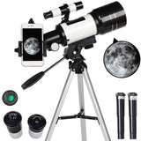 Professional Astronomical Telescope Monocular 150X Refractive Outdoor Travel Spotting Scope with Tripod for Beginners