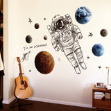 Space Astronaut Wall Stickers for Kids Room Boy Room Decoration Planets Wall Decals Decorative Stickers Bedroom Mural Wallpaper