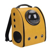 PU Leather Pet Carrier Backpack Cat Dog Breathable Safety Backpack Space Capsule Shaped Small Puppy Travel Bag