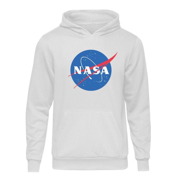 Casual Nasa Logo White Hooded Hoodie Sweatshirt