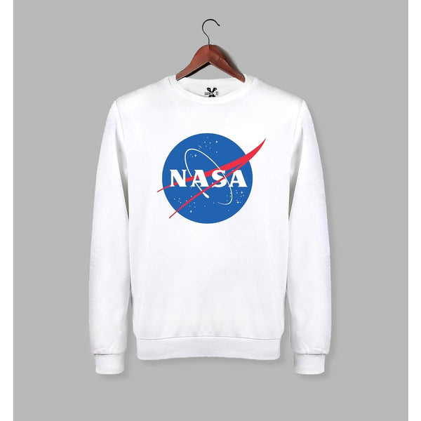 NASA Printed Long Sleeve White Sweat - Sweatshirt