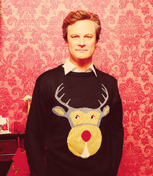 Colin Firth in a Christmas sweater