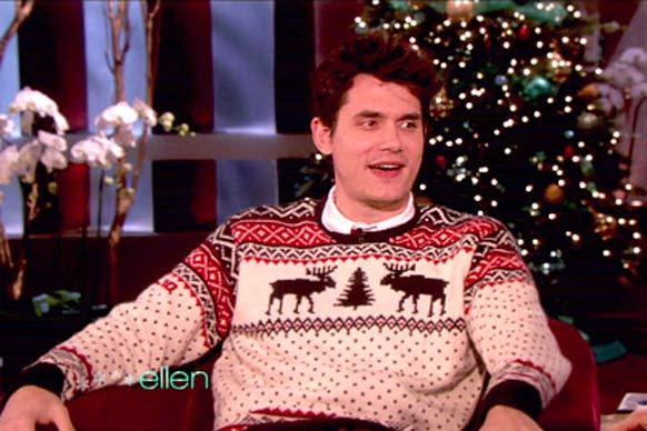 John Mayer in a Christmas sweater