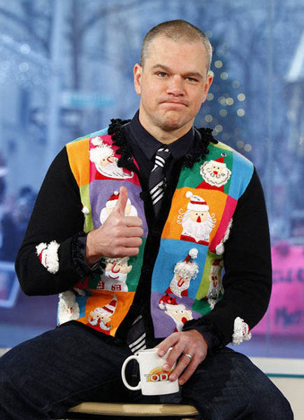 Matt Damon in a Christmas sweater