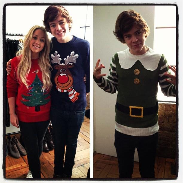 One Direction's Harry Styles in a Christmas sweater