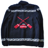 Black and red wool curling sweater