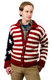 USA Flag Hand Knit Wool Sweater
