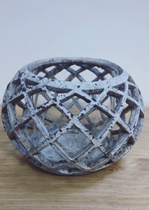 Round Lattice Hurricane Lantern