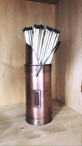 Antique Pewter Match Holder With 60 Matches