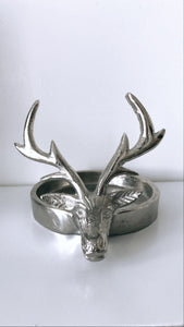 SILVER REINDEER CANDLE HOLDER